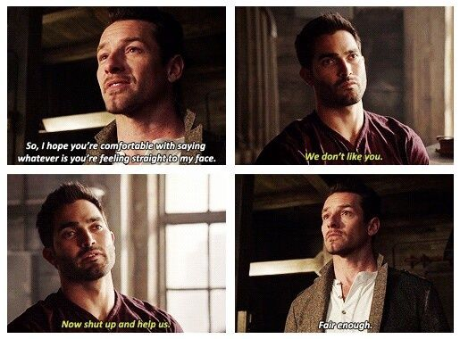 "Derek Hale | Peter Hale | That bluntness | ""We don't like you."""