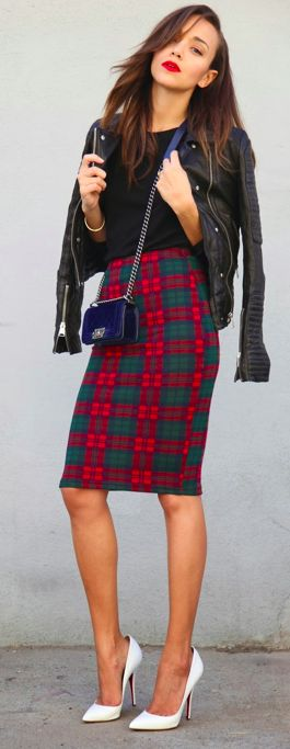 Tartan skirt, gorgeous heels. All great individual elements, even if I don't think they play well together.
