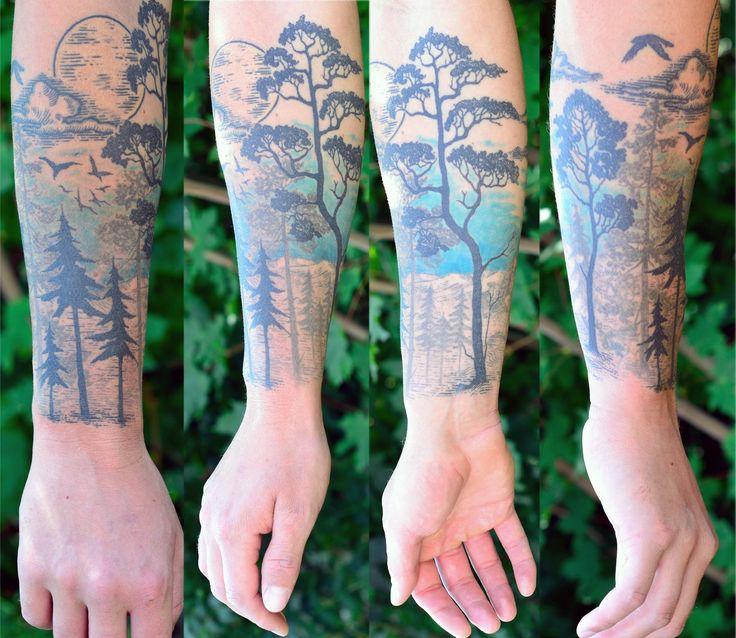 forest wood trees dots tattoo