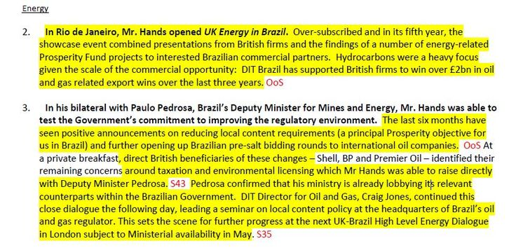 UK minister lobbys Brazil government on behalf of BP and Shell https://unearthed.greenpeace.org/2017/11/19/brazil-shell-bp-greg-hands-liam-fox/