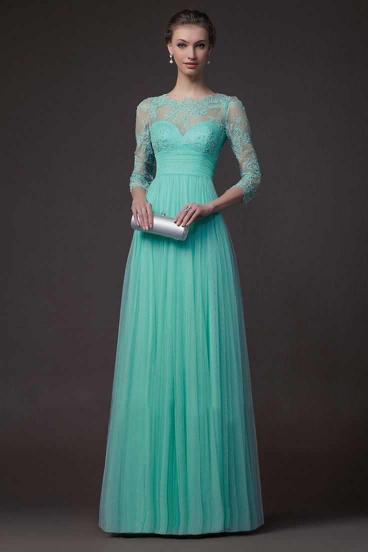 Long Evening Dresses With 3/4 Sleeves