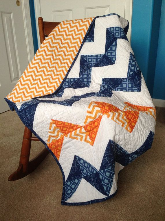 Modern Baby Boy Chevron Quilt, Blue and Orange, crib size