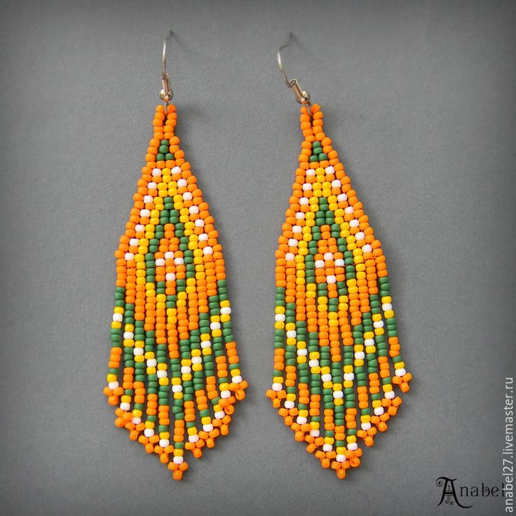 Купить Оранжевые серьги из бисера, длинные яркие серьги, этнические украшения - украшения от anabel