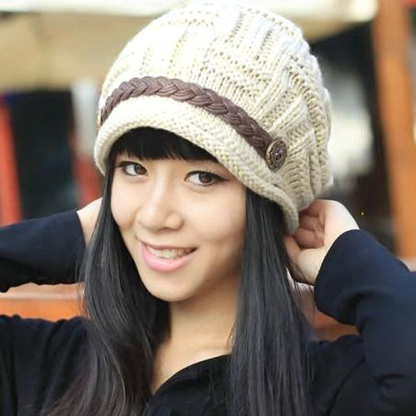 Winter Plicate Baggy Beanie Women's Knitted Ski Hat Cap