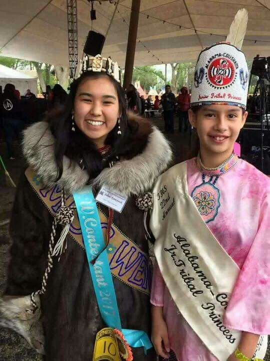 Aaliyah Johnson, 2016-2017 Alabama-Coushatta Junior Tribal Princess with a Miss Indian World Contestant from Barrow, AK