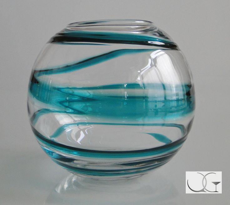 Wazon szklany przeźroczysty Smuga Bałtyku h-16