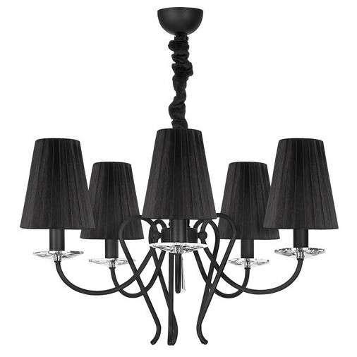 Czarny, abażurowy żyrandol z miejscem na pięć źródeł światła to dobre rozwiązanie dla Twojej sypialni lub jadalni. #mlamp #oświetlenie #lampa #zwis #design #wystrój #wnętrz