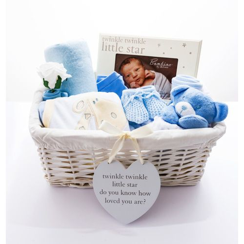 Twinkle Twinkle 'Its A Boy' Baby Hamper Our blue baby boy hamper features a beautiful selection of handpicked baby items, which make the ideal gift basket for a baby boy. £60.00