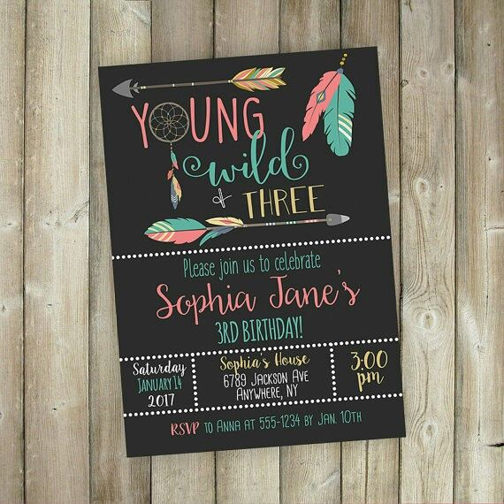 Do you have a little one who is YOUNG, WILD, and THREE?! Check out this cute boho inspired invitation that would make a great addition to her party!