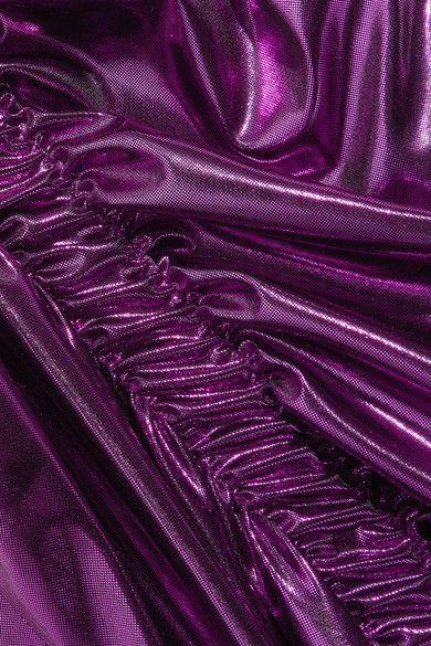 Preen by Thornton Bregazzi - Lazarus Ruched Lamé Midi Dress - Purple -