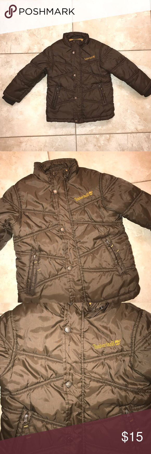 Boys Timberland Coat Good used condition. This coat doesn't have a hood but is very warm. Brown in color. All zippers work great. Size 3t. Timberland Jackets & Coats