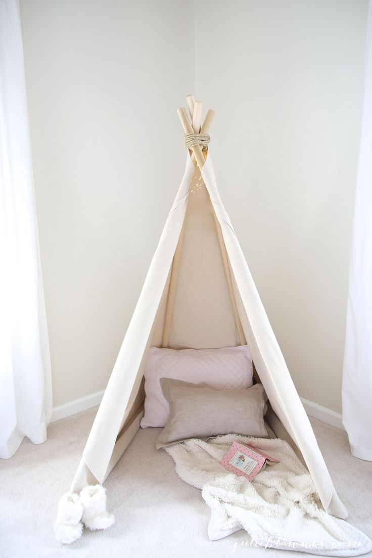 Learn how to make a collapsible, no see teepee with this easy DIY tutorial!
