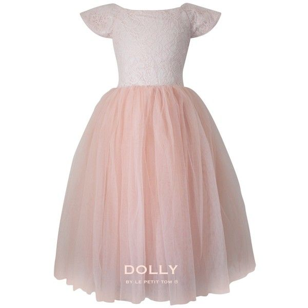 DOLLY by Le Petit Tom the DREAMY DRESS ballet pink ❤ liked on Polyvore featuring dresses, pink party dresses, pink dress, bridal party dresses, petite dresses and lace bridal dresses