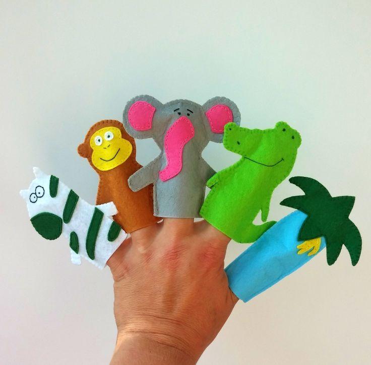 African Safari Finger Puppets Set 5 Felt Animals Finger