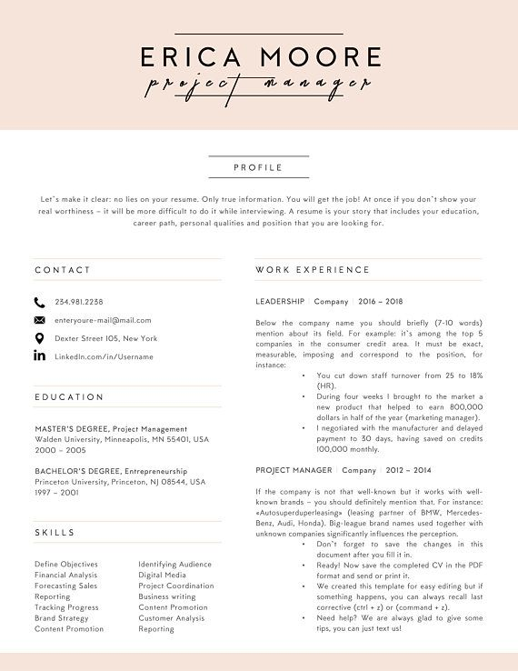 Creative resume template for Word Instant Download CV Template