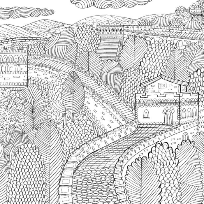 the great wall of china by kay widdowson adult coloringcoloring pagescolouringcoloring - Great Wall China Coloring Page