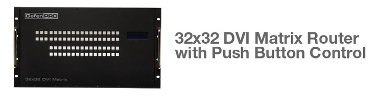 The GefenPro 32x32 DVI Matrix provides a professional-grade solution to route up to 32 DVI sources to any 32 DVI displays without losing quality or resolution.