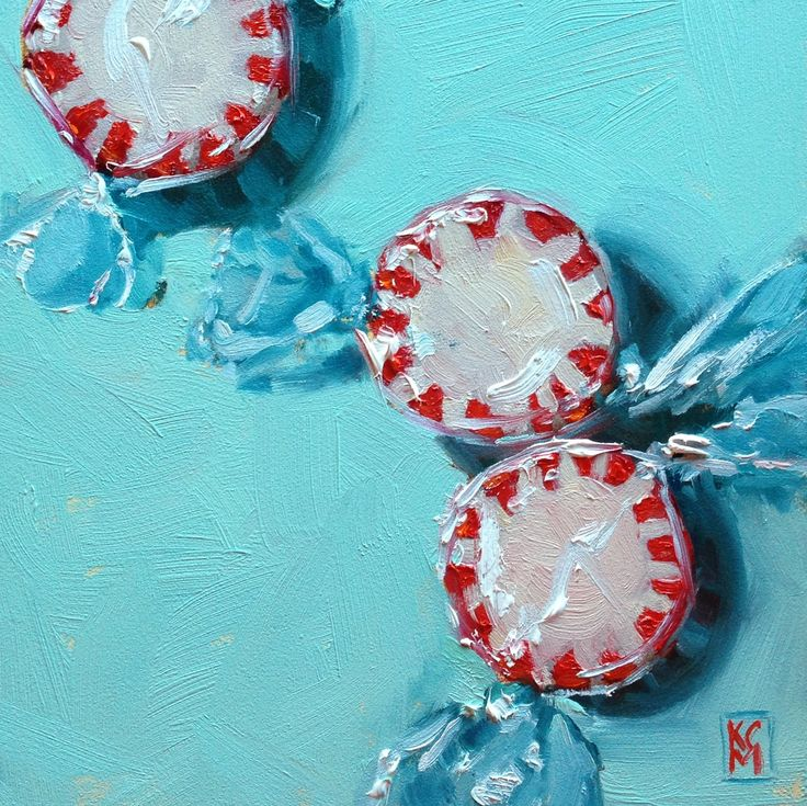 Kelley MacDonald's Daily Paintings: PepperPepperPeppermints, 6x6 Inch Oil Painting by Kelley MacDonald