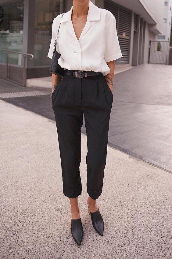 Blouse | black pants | outfit | basics | minimal | capsule