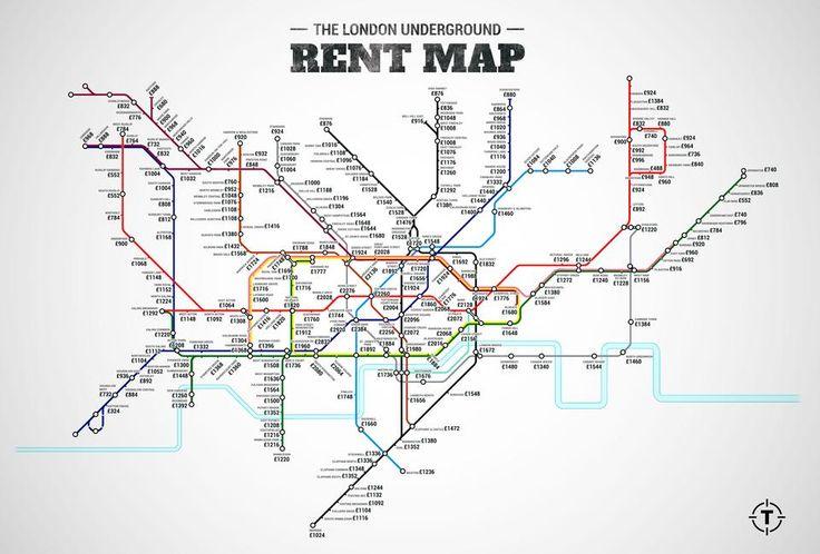 En este curioso mapa de metro, podrás ver el precio medio del alquiler de un piso según la zona de Londres donde se encuentre #mapa #Londres
