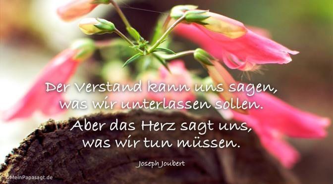 """""""Der Verstand kann uns sagen, was wir unterlassen sollen. Aber das Herz sagt uns, was wir tun müssen."""" #Spruch #Verstand  von: meinpapasagt.de / Joseph Joubert"""