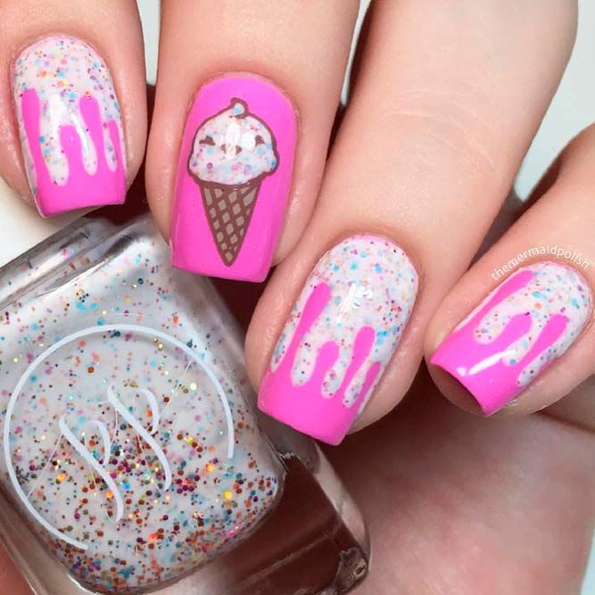 Ice Cream Nail Designs #summernails #glitternails ★ There is so much more to pink and white nails than you have ever im…