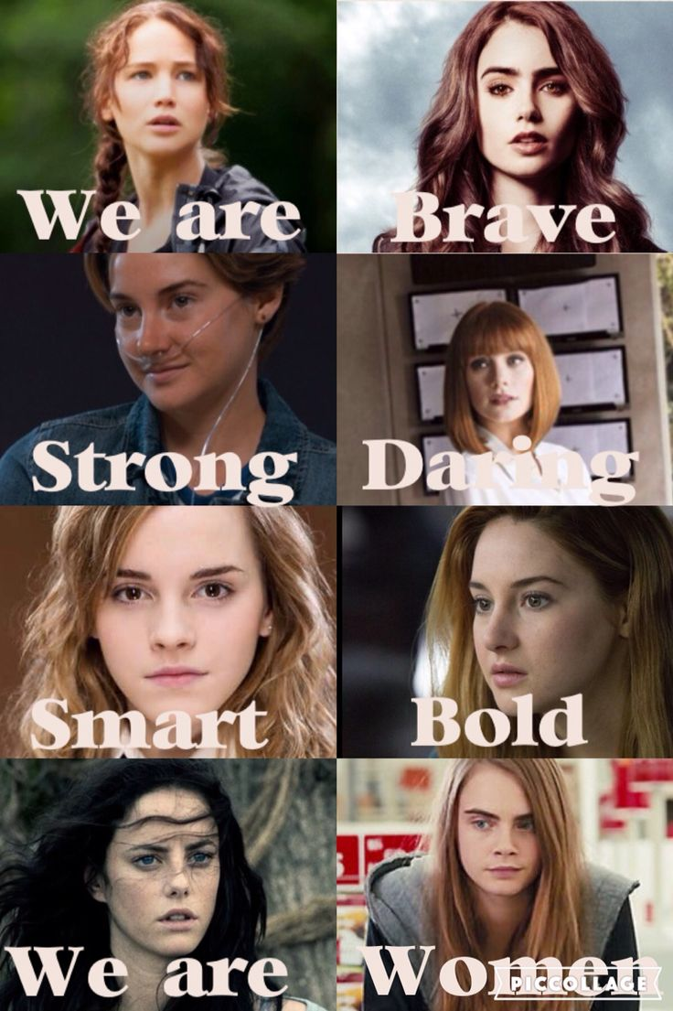 Katniss (The Hunger Games), Clary (The Mortal Instruments), Hazel (The Fault in our Stars), Claire (Jurassic World), Hermione (Harry Potter), Tris (Divergent), Teresa (The Maze Runner) and Margo (Paper Towns) WOMEN UNITE!!!