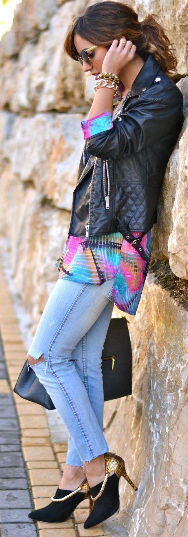 Mango Biker + Delban Tropical Shirt + Stradivarius Jeans + Menbur heels  | LBV ♥✤ | KeepSmiling | BeStayElegant