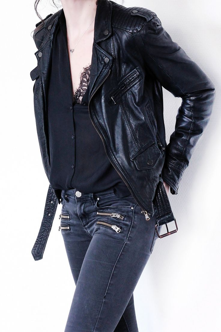 Black leather jacket black jeans lace camisole