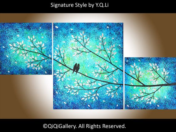 Hand paint bird art wall hangings love birds on by QiQiGallery