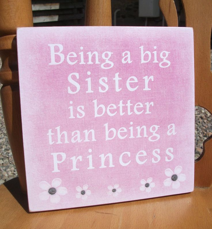 Sister plaque, Princess plaque, little girl, gift idea - handmade wooden plaque