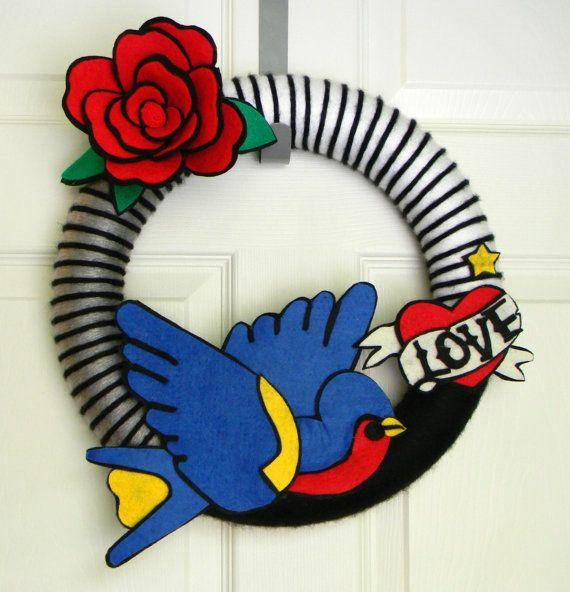 Traditional American Tattoo: 14 inch Felt and Yarn Wreath