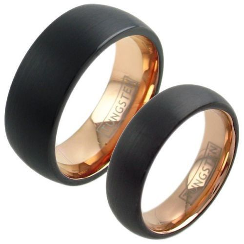 Beautiful 2-Tone Black and Rose Gold Tungsten Wedding Band. Sized for him and her in 2 widths, 6mm and 8mm. Couple Ring. Wholesale Tungsten Rings | Wedding Bands. www.925express.com