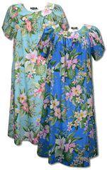 Hibiscus Plumeria Orchid Hawaiian MuuMuu, (Kaftan / Caftan), Pull-Over House Dress with Petal Sleeves, pocket, Regular Sizes and Plus Sizes is W-Q-140S-DB created in Black, Aqua and Blue.