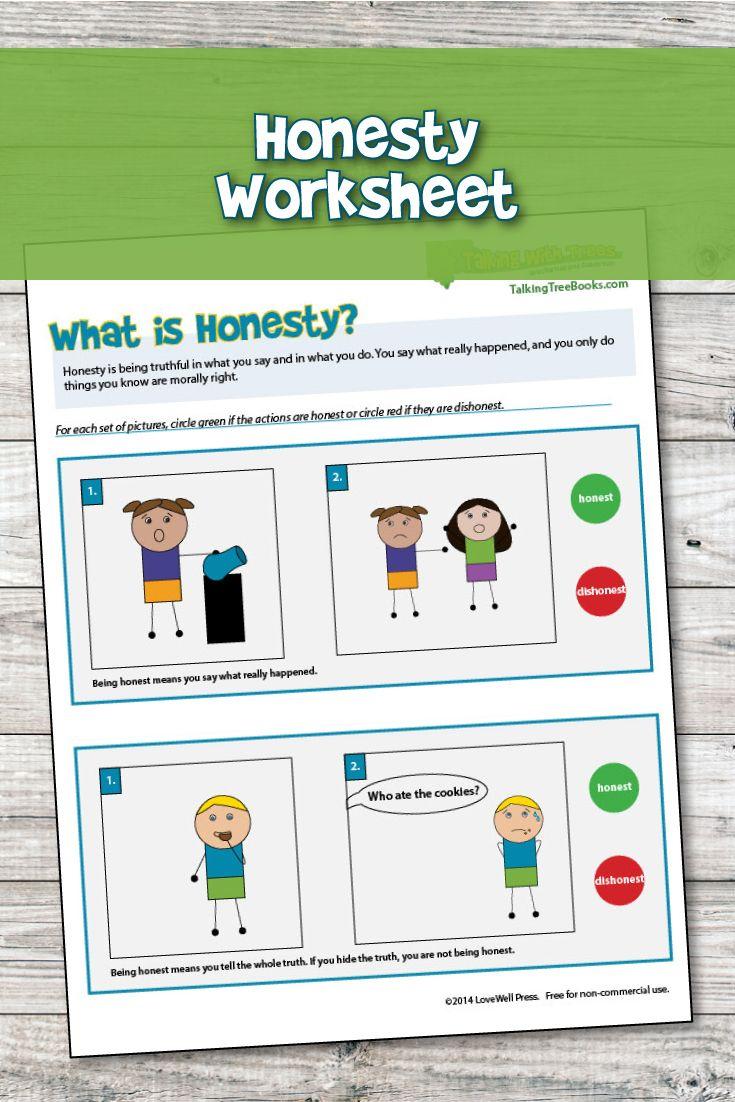 Honesty Worksheet Kindergarten Pre Reader Character Education Character Building Lessons Kindergarten Worksheets [ 1102 x 735 Pixel ]