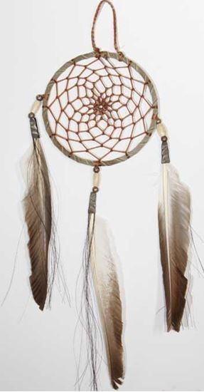 "4"" Dreamcatcher Antiqued leather - Native American Arts @ Foutztrade.com  Antique Dreamcatcher For Sale 