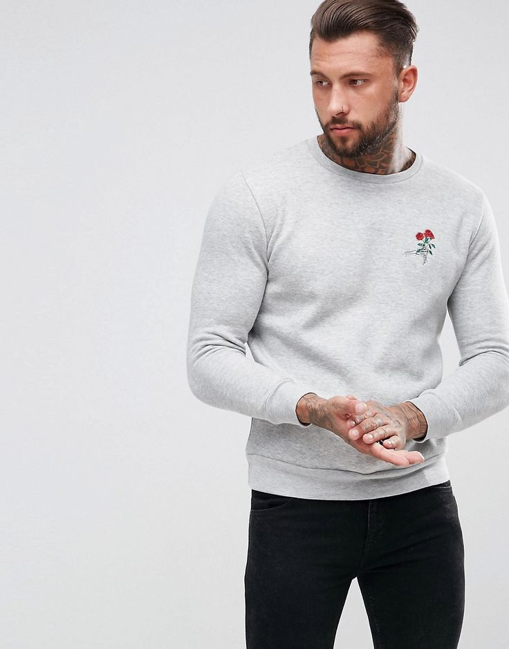 Hype Sweatshirt In Gray With Skeleton Rose Embroidery - Gray