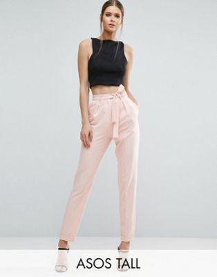 Pantalones de pinzas tejidos con lazada obi de ASOS TALL