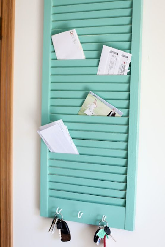 Clever Storage Using Repurposed Items :: a shutter turned into mail sorter