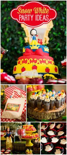 A red, blue and yellow Snow White girl birthday party for a little princess! See more party planning ideas at CatchMyParty.com!