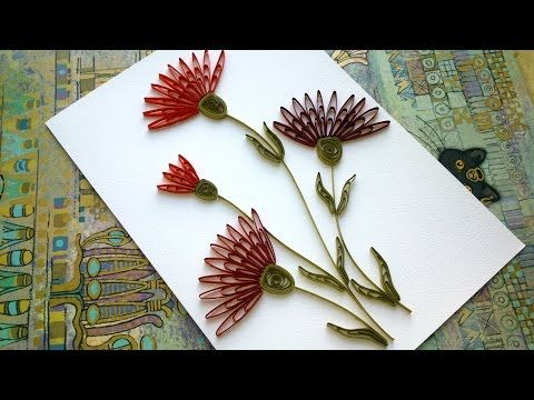 Quilling Flower: How to make Beautiful Quilling Red Flower Quilling -Paper Art Quilling - YouTube