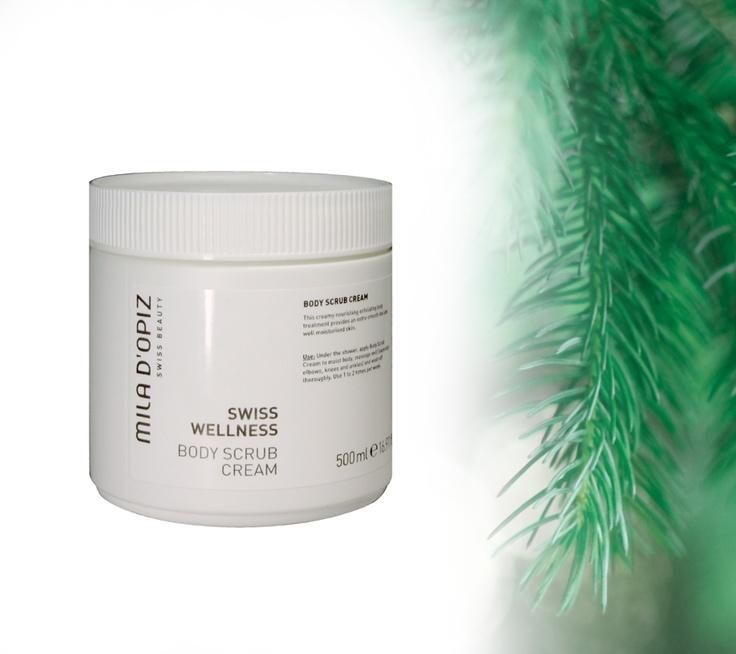 Mila d'Opiz Australia - Swiss Wellness Body Scrub Cream. This creamy nourishing exfoliating body treatment provides an extra-smooth feel and well moisturized skin.