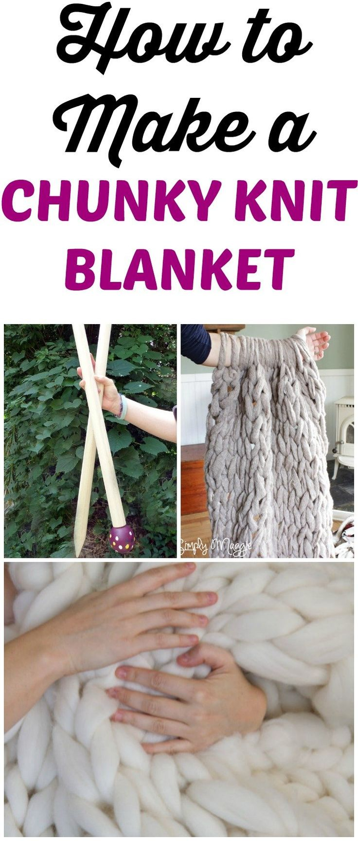 Make your own chunky knit blanket in less than one hour, even as a beginner knitter! Includes where to get yarn, a video tutorial, pattern and using jumbo needles. Learn how to knit. #chunkyknitblanket #knitting #blanket #diy #patterns #crafts