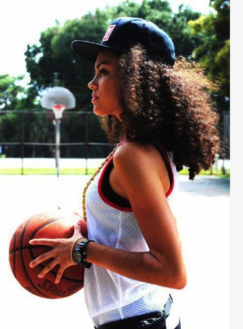 Stylish basketball girl snapback curly hair pretty girl swag