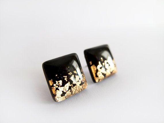 Black Gold Square Stud Earrings - Hipoallergenic Surgical Steel Post on Etsy, $16.00