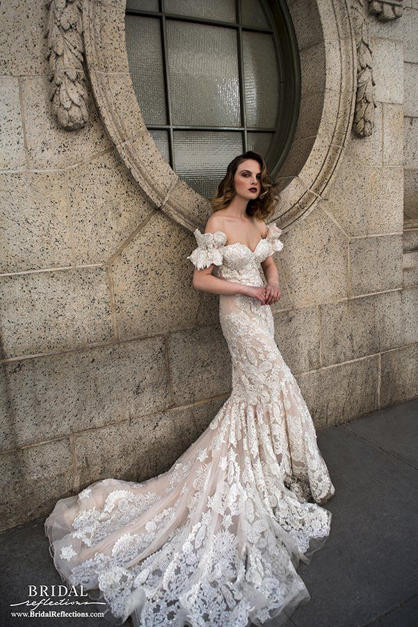 Stephen Yearick Wedding Gown cream lace over blush... sweetheart neckline and off the shoulder short sleeves with ribbons. So romantic