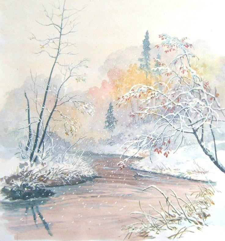 Картинки, картинка акварелью зима