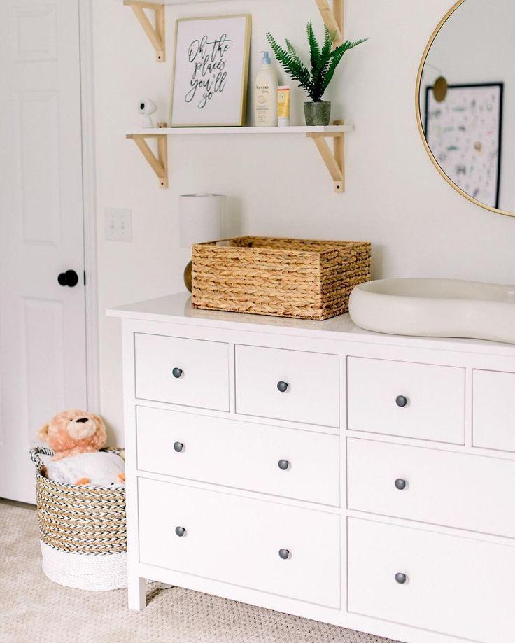 Hemnes 8 Drawer Dresser White 63x37 3 4 Ikea Baby Girl Nursery Room Girl Nursery Room Baby Room Design