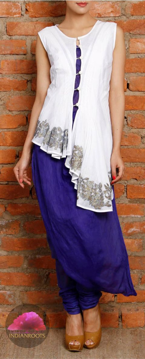 White and blue cotton churidar set with a jacket from Ravage by Raj Shroff on Indianroots.com