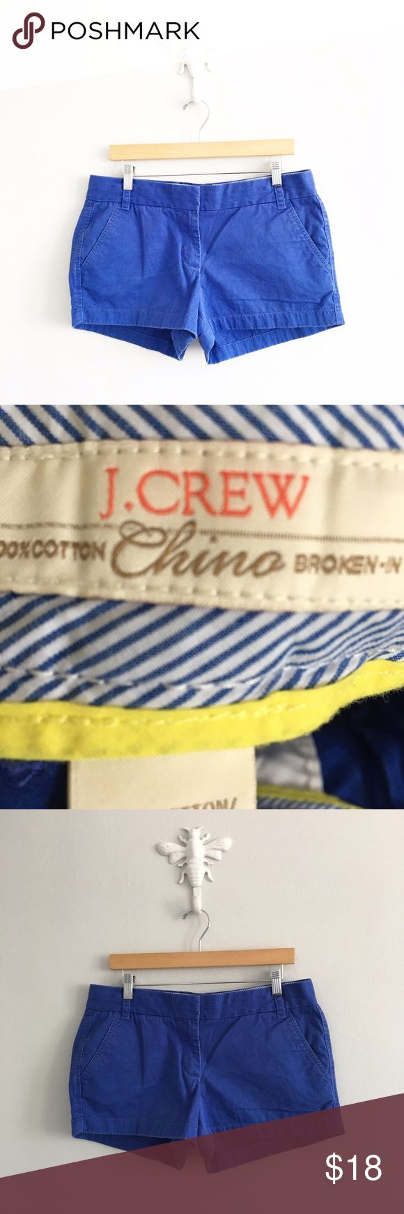 "J. Crew Cobalt Blue Broken In Cotton Chino Shorts 100% cotton. Waist: 33"". Inseam: 3"". Gently pre-loved with no rips or stains. Please see all pictures for an accurate description of condition. *0517170150* J. Crew Shorts"